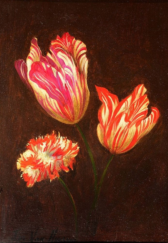 DUTCH SCHOOL A sprig of hybrid tulips and a carnation, bears signature
