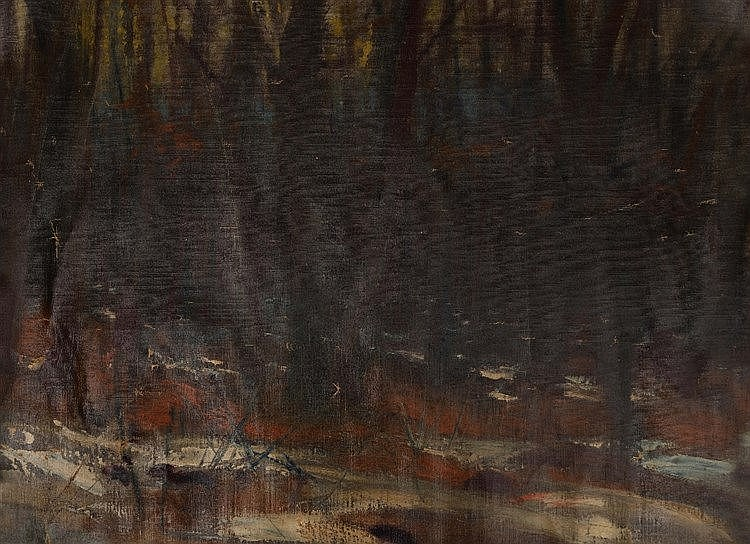 HUNGARIAN SCHOOL, EARLY 20TH CENTURY A winter landscape with trees, oi