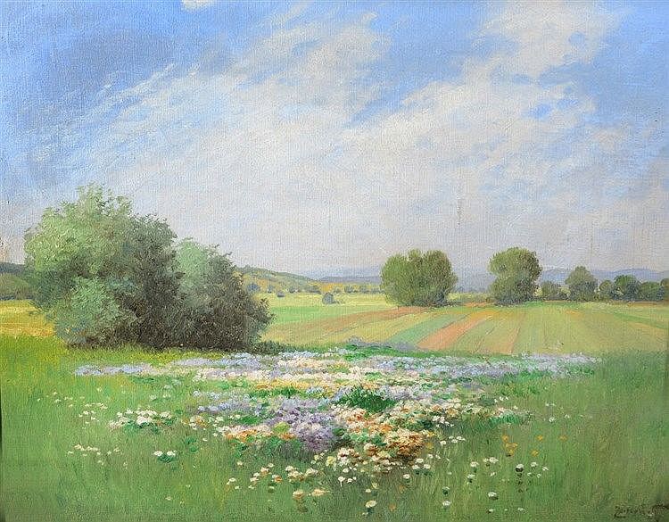 GYULA ZORKOCZY (1873-1932) A field with summer flowers, signed, oil on