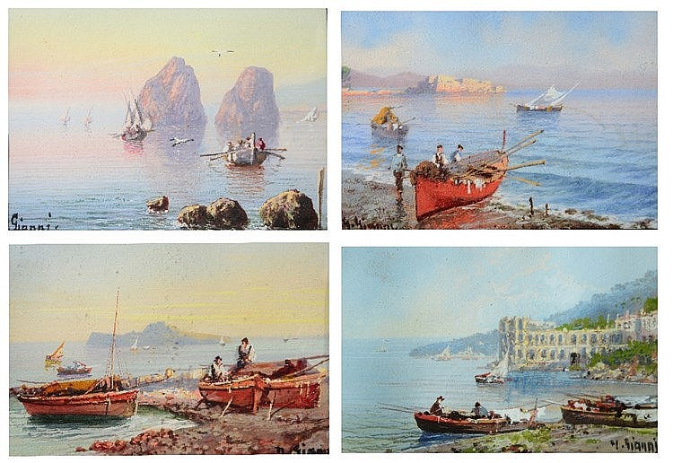 Y. GIANNI (19TH/20TH CENTURY) Mediterranean views, a set of four, each