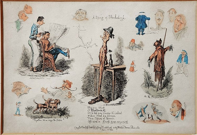GEORGE CRUICKSHANK 'A Sprig of Shelalegh', humorous caricature etching
