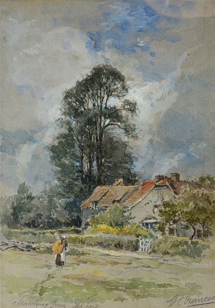 GEORGE CHARLES FRANCIS (B.1860) Figure by a cottage, signed, inscribed