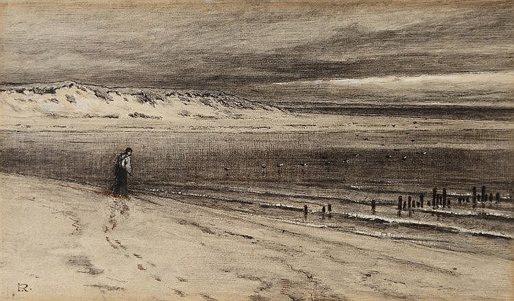 GEORGE REID (1841-1913) Figure on a beach, signed with initial, ink an