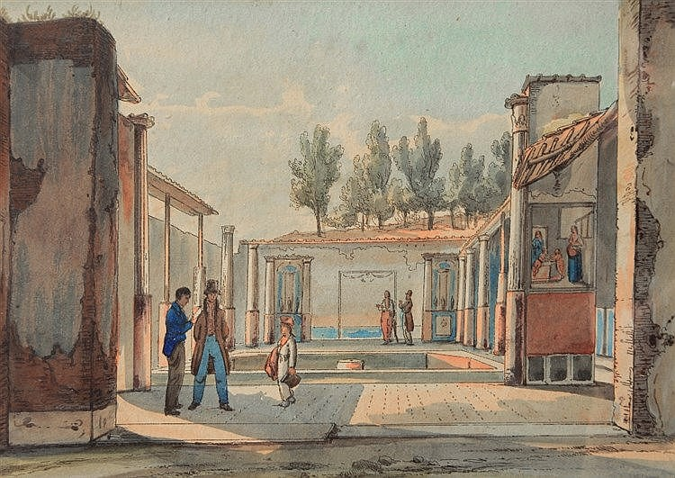 CONTINENTAL SCHOOL (C19TH) Figures among the ruins of Pompeii, ink & w