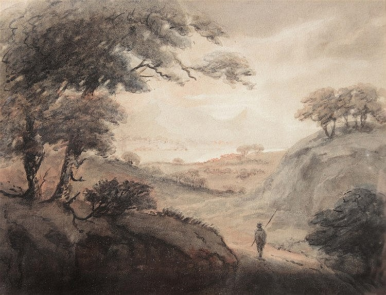 CIRCLE OF WILLIAM GILPIN (1724-1804) Figure in a mountainous landscape