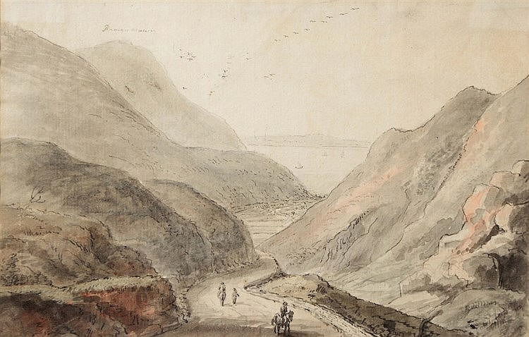 CIRCLE OF COPPLESTONE WARRE BAMFYLDE (1720-1791) Penmaen Mawr, ink & w