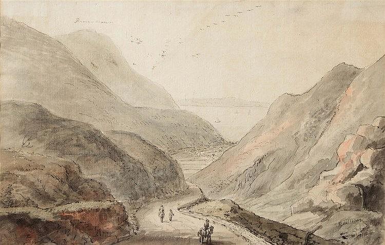 CIRCLE OF COPPLESTONE WARRE BAMFYLDE (1720-1791) Penmaen Mawr, ink & w