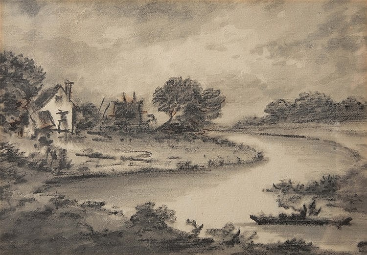 DR THOMAS MONRO (1759-1833) A cottage near a river, chalks & grey wash