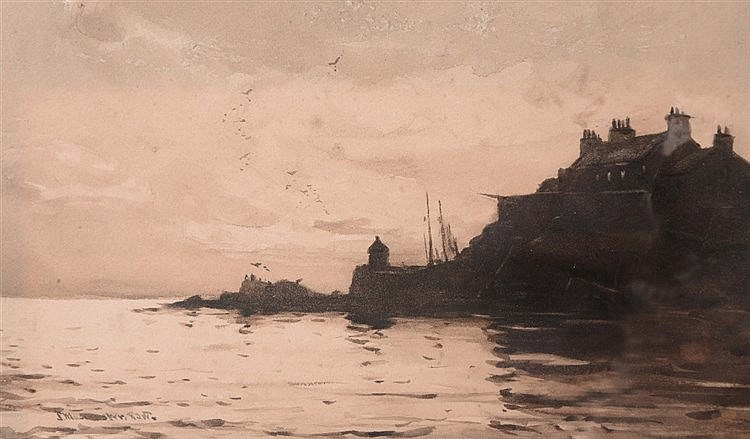 JAMES MCMASTER (1856-1913) Scottish harbour at evening light, signed,