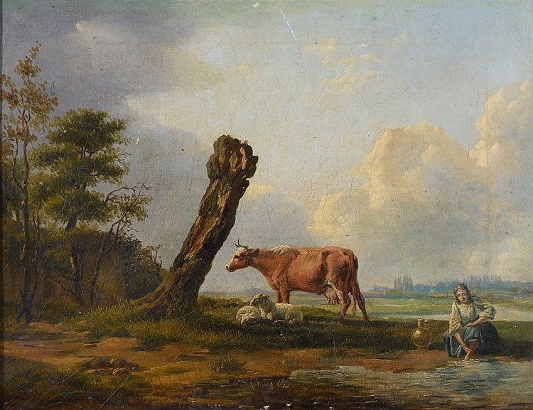 FOLLOW OF FRANZ VAN SEVERDONCK A cow and sheep with farm girl in a lan