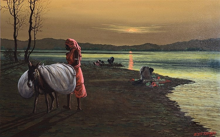 H * J * T * JAMES African washer women with mule at sunset, signed, go