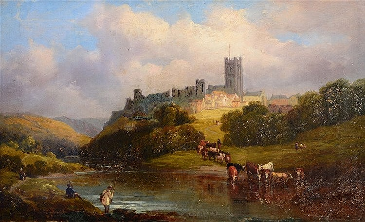 19TH CENTURY ENGLISH SCHOOL Richmond Castle, oils on canvas, 29 x 48.5