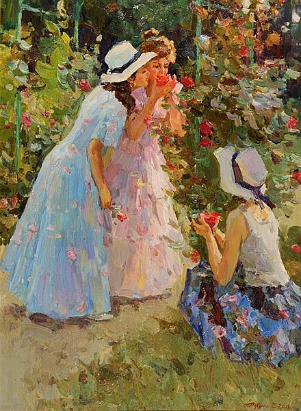 VLADIMIR TRUCHE (b.1966) Three young girls admiring flowers, signed, o