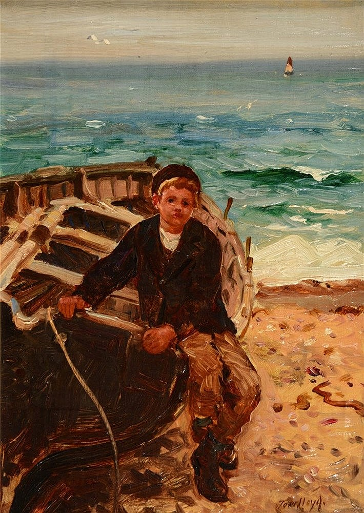 THOMAS JAMES LLOYD (1849-1910) Beached fishing vessel with sailor boy,