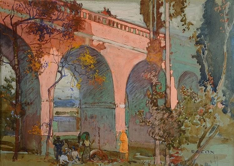 ELIJA ALBERT COX (1876-1955) 'The Leatherhead Viaduct', signed, gouach