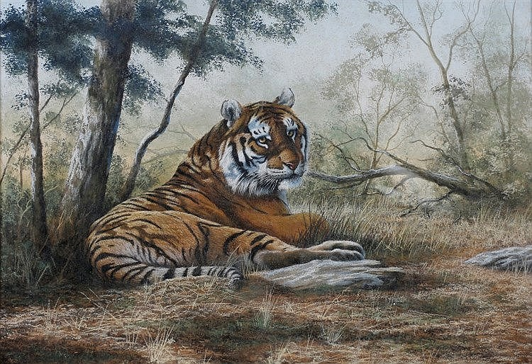 PETER JEPSON (b. 1936) A tiger resting in the shade, signed and dated