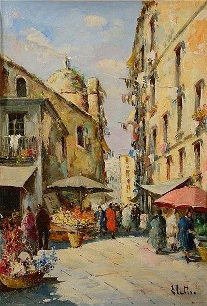 ELETTRA BRIANTE (b. 1906) An Italian street market, signed, oils on ca