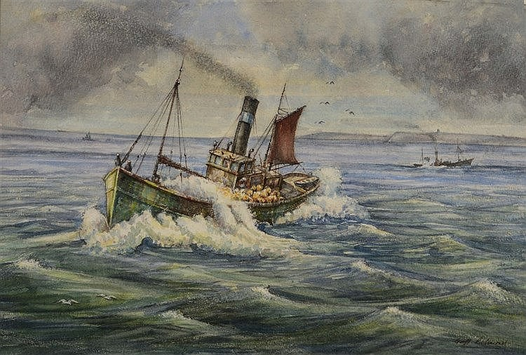 GEOFF RICHMOND A steam boat in full sail, signed, watercolour, 33 x 49