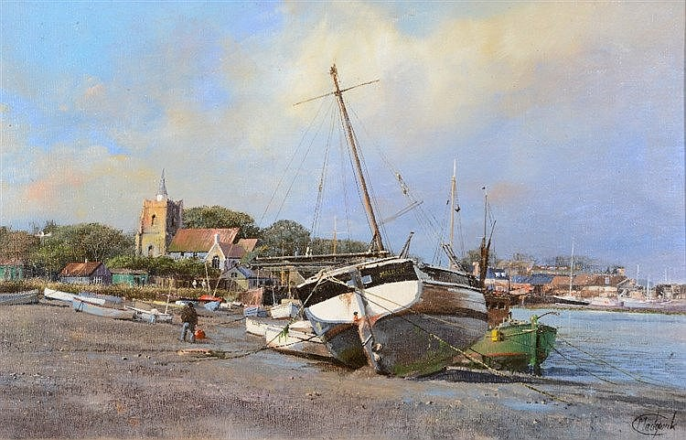 CLIVE MADGWICK (1934-2005) 'Low Tide Maldon, Essex', signed, inscribed