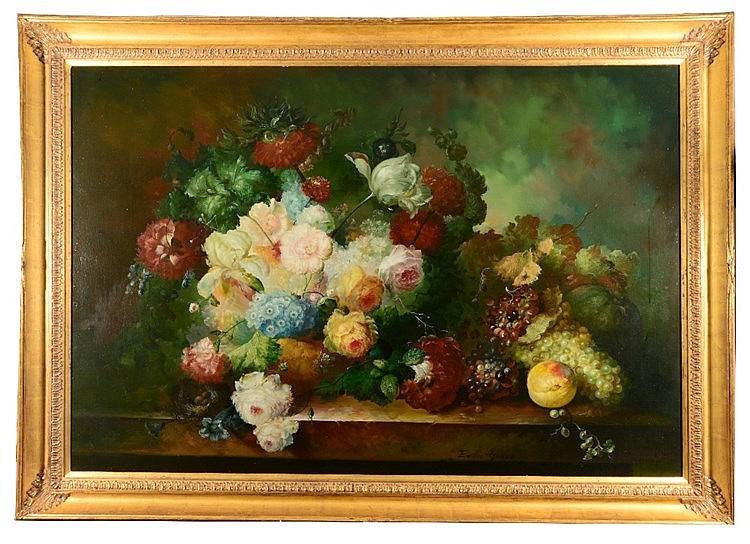 EMILIO GRECO (1913-1995) Still life - An abundance of flowers and bunc