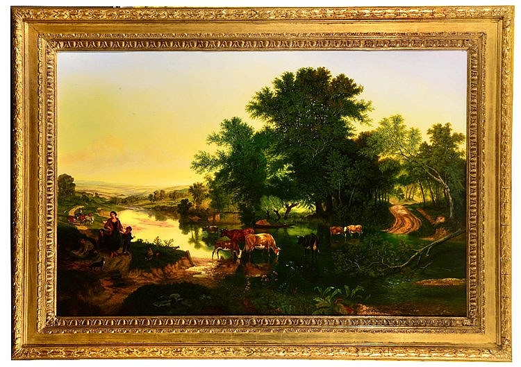 MANNER OF AELBERT CUYP An extensive landscape at sunset with cattle wa