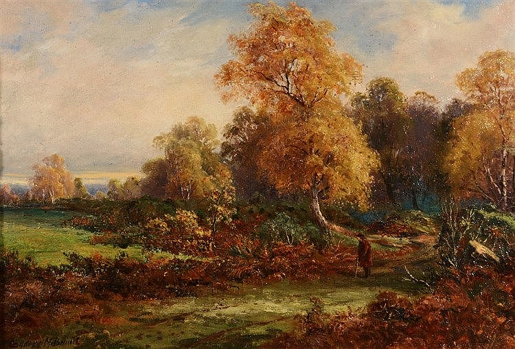 SYDNEY M. BROAD (1853-1924) An autumnal landscape with traveller, sign