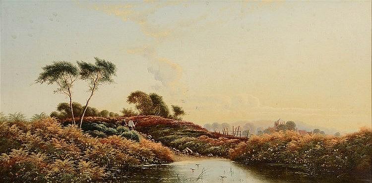 EDWIN HENRY BODDINGTON (1836-1905) Figures in a river landscape, a pai