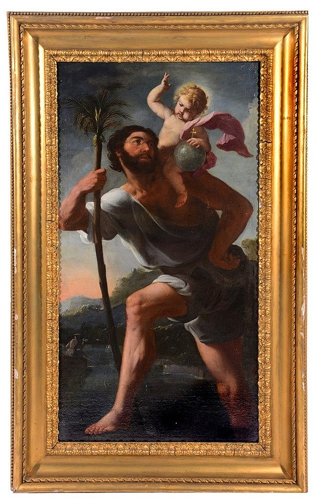 17TH CENTURY GENOESE SCHOOL St Christopher and Christ Child crossing a