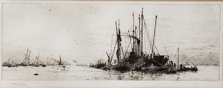 WILLIAM LIONEL WYLLIE (1851-1931) Colliers on the Medway etching, penc