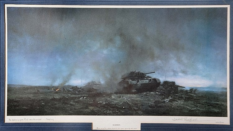 AFTER DAVID SHEPHERD 'Alamein', print in colours, pencil signed in the