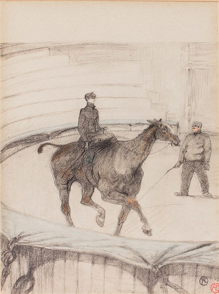 HENRI DE TOULOUSE-LAUTREC Figure on horseback and figure with horse l