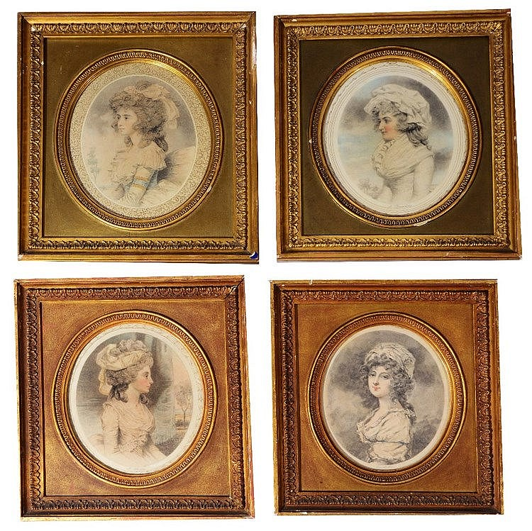 AFTER JOHN DOWNMAN A set of four portraits of ladies, coloured engravi