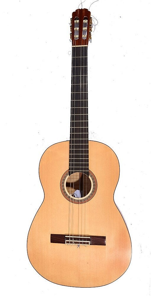 AN ACOUSTIC GUITAR made by the late Alan Greenwood, with two piece maple ba