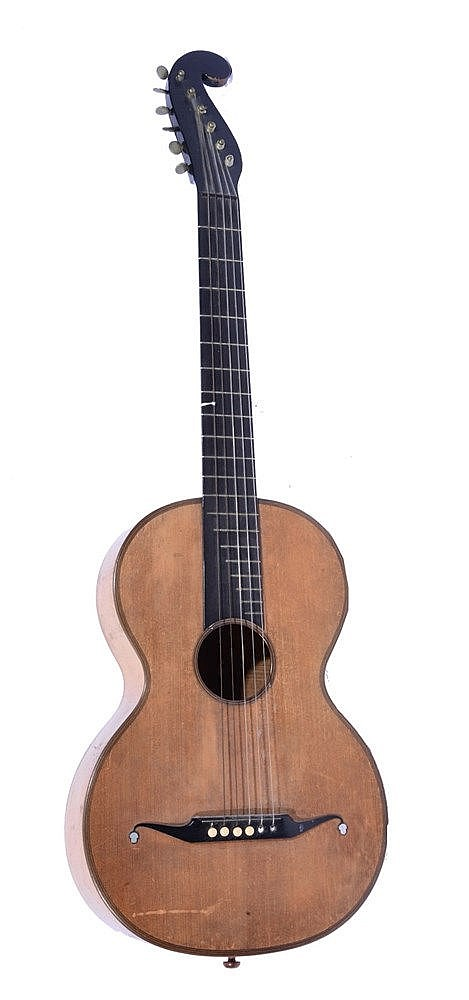 A 19TH CENTURY CONTINENTAL GUITAR IN STAUFFER STYLE with single piece maple