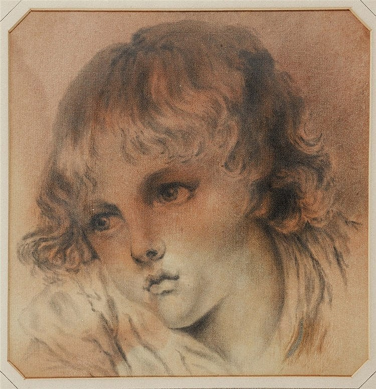 AFTER JEAN-BAPTISTE GREUZE A child with an apple, grey wash drawing, 2