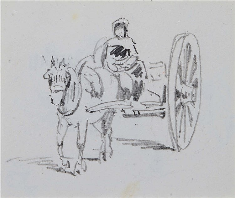 DAVID COX JNR. (1809-1885) A horse drawn cart with figure, pencil sket