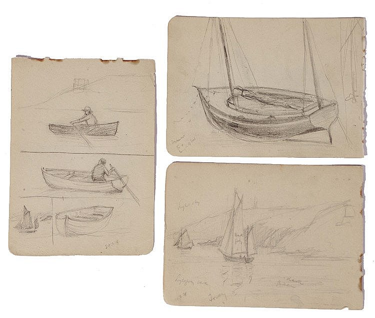 A COLLECTION OF APPROX. 14 PENCIL SKETCHES by Cyril Ward to include boat su