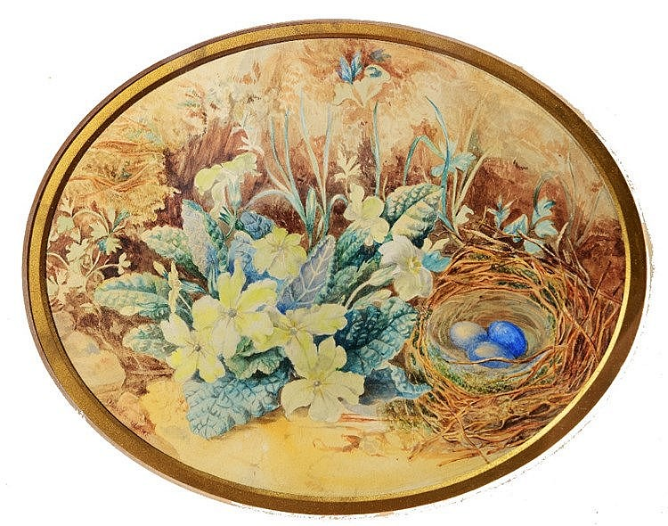 OLIVER CLARE (1853 - 1927) Still life, primroses and a nest of birds'