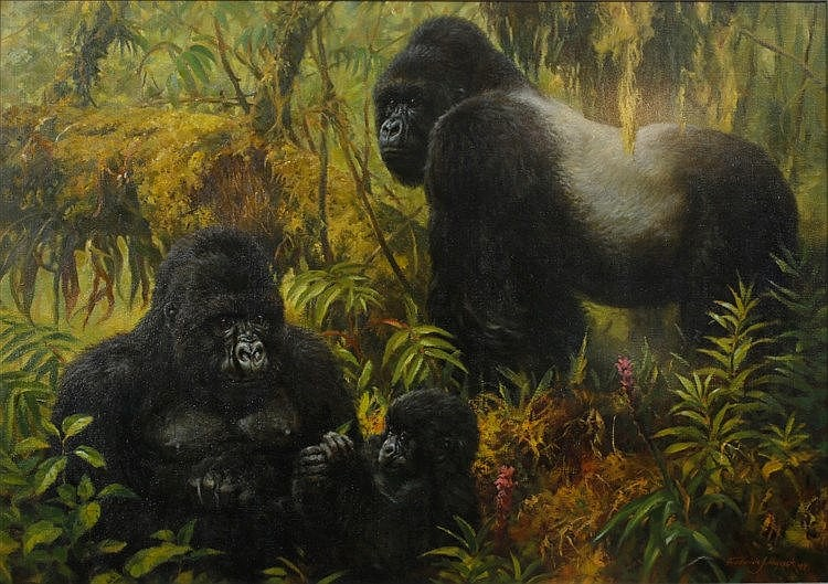 FREDERICK J. HAYCOCK (b.1948) A family of Silver Backed Gorillas, sign