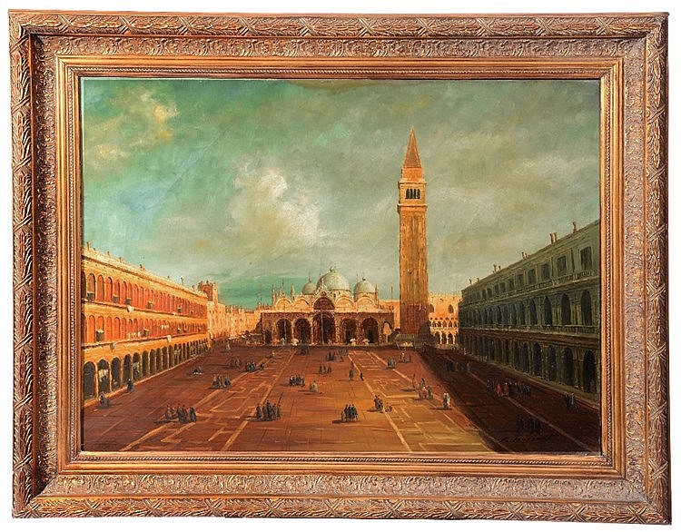 R * HUSSENT Figures in St Mark's Square, Venice, signed, oils on canv