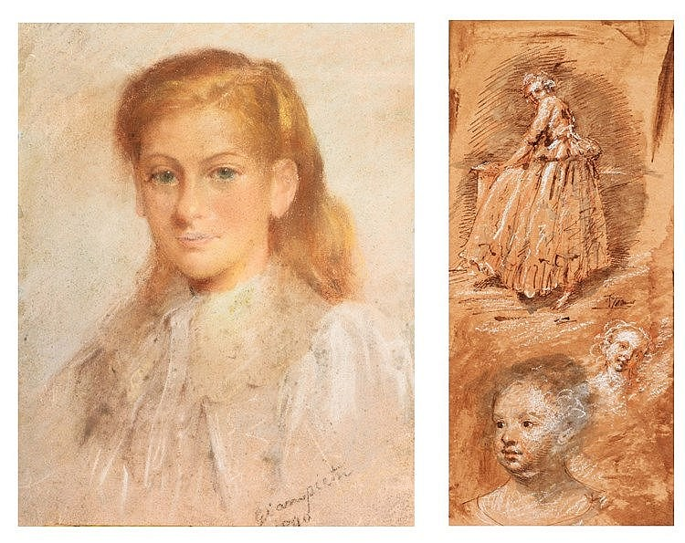 CONTINENTAL SCHOOL (18TH CENTURY) Figure and head studies, indistinctl