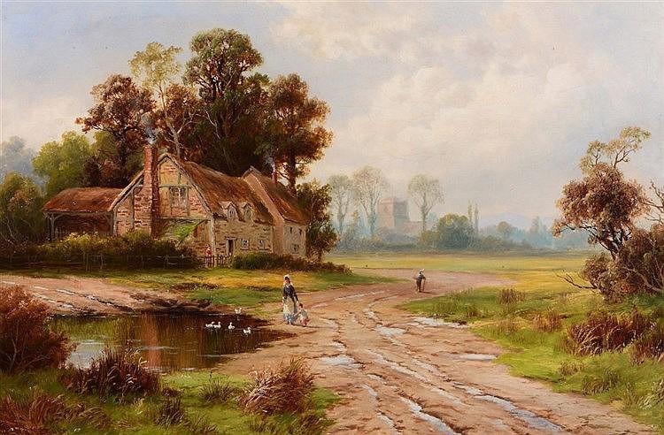 WILLIAM HENRY MANDER (1850-1922) 'Near Goring-on-Thames', signed, oils