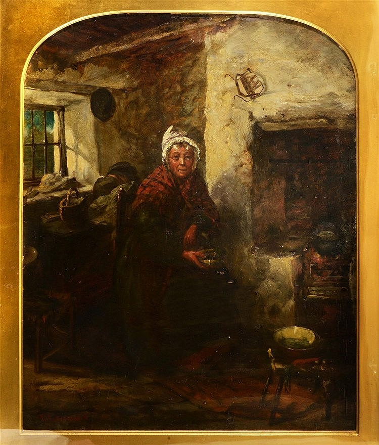 FREDERICK GERALD KINNAIRD (act. 1864-1881) By the fireside, signed, oi