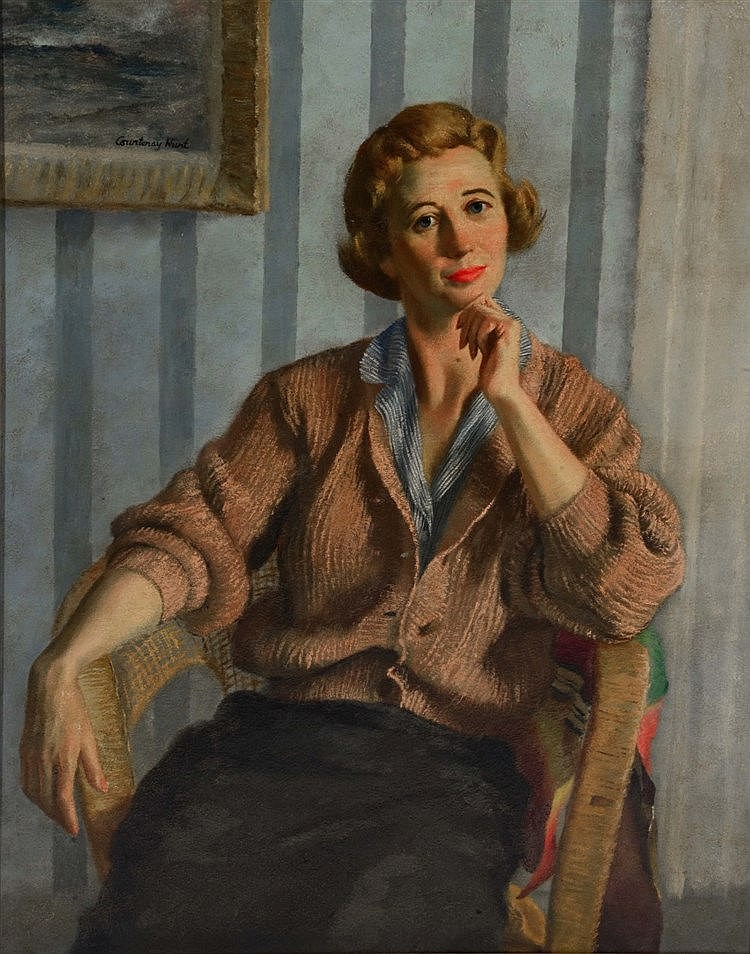 COURTENAY HUNT (20TH CENTURY) Portrait of a lady seated in a chair, si