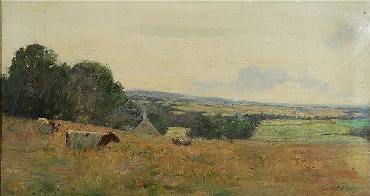 DAVID FORRESTER WILSON (1873-1950) Landscape with cattle, signed, oils