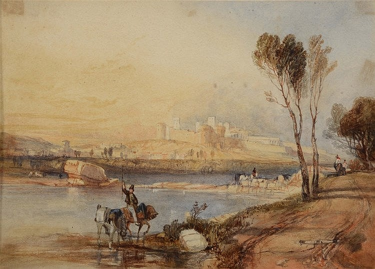 19TH CENTURY ITALIAN SCHOOL A lakeside view with fortress, watercolour