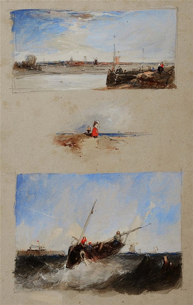 ATTRIBUTED TO ALFRED VICKERS (1786-1868) Coastal sketches, three on on