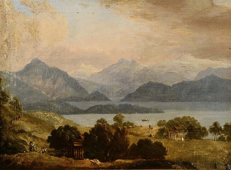 19TH CENTURY CONTINENTAL SCHOOL A lakeside landscape with snow capped
