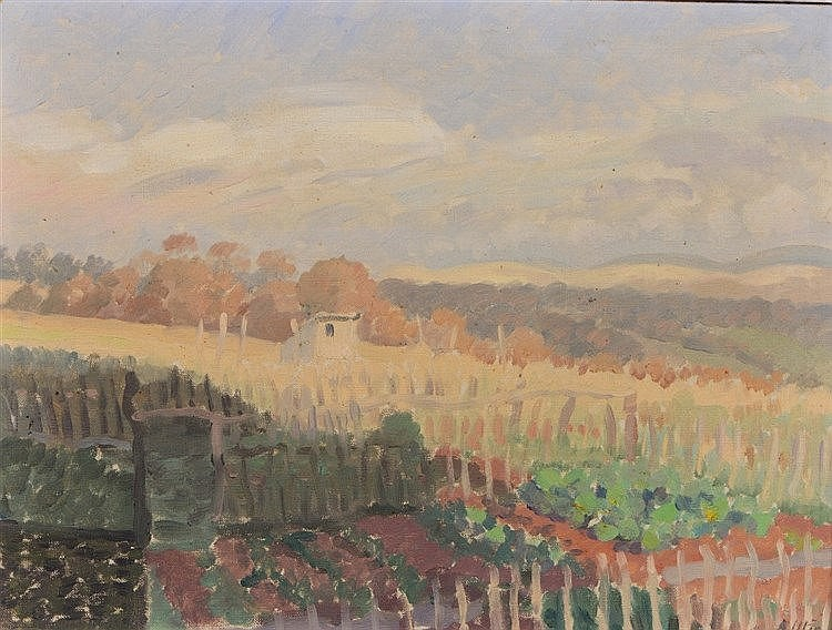 ARCHIE UTIN (exh. 1931-1938) Hillside landscape with allotments, signe
