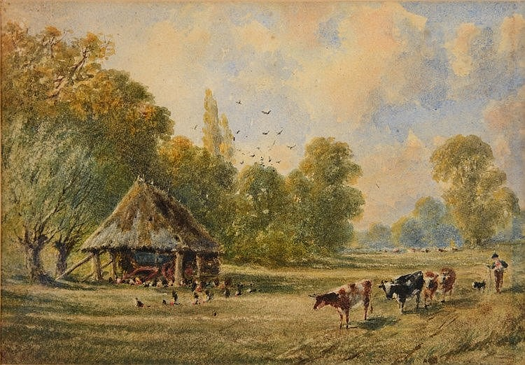 FOLLOWER OF ROBERT THORNE WHAITE  Landscape with drover and cattle pas